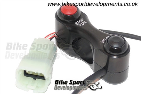 Kawasaki ZX-10R 2011> 2 Way Shell Clamp Bar Mount Race/Track Bike Handlebar Switch Assembly - Stop/Run and Start