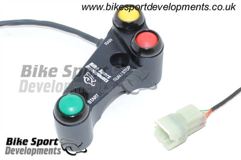 Kawasaki ZX10 2011 to 2015 - 3 way 'Type X' Brake pump mount 30mm offset bolts - race bike handlebar switch assembly - Stop/Run Start Rain