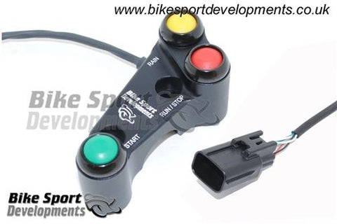 Suzuki GSXR1000 2017 onward - 3 way 'Type X' Brake pump mount 30mm offset bolts - race bike handlebar switch assembly - Stop/Run Start Rain