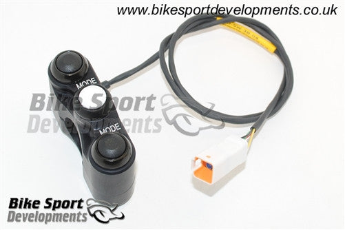 Ducati 899 959 1199 - 3 way Shell clamp bar mount - race bike handlebar switch assembly - Up Select Down