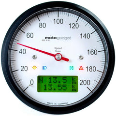 MotoGadget Motoscope Classic Speedo - Analogue Speedometer With Many Additional Features