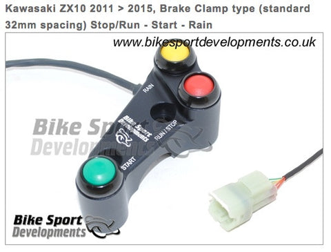 Kawasaki ZX10 2011 to 2015 - 3 way 'Type X' Brake pump mount 32mm in-line bolts - race bike handlebar switch assembly - Stop/Run Start Rain