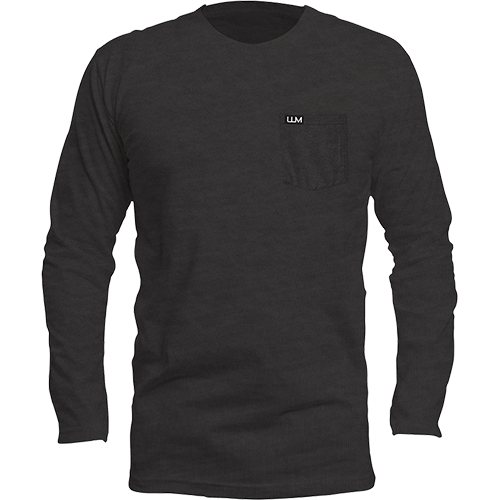 Downtown Pocket Long Sleeve Tri-Blend Crew - Black