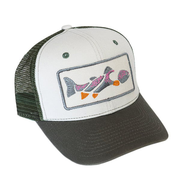 b7db4aa7ed2df Life Trout Curved Trucker Hat - Natural