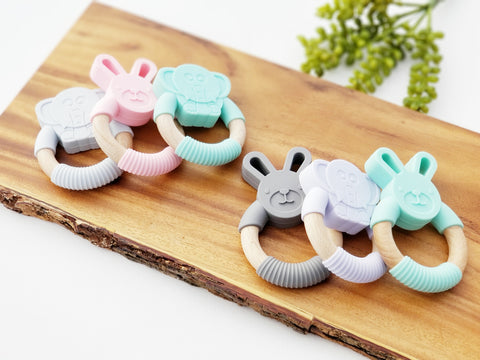 Silicone and Wood Teether for Baby- Bunny or Elephant
