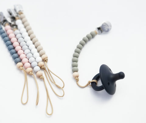 The Asher Pacifier Clip - Beech Wood and Silicone Combo - 6 Color Options
