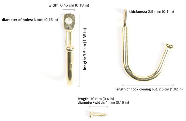 30pc Mini Gold Metal Hooks