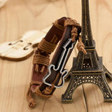 Genuine Leather Hollow Guitar Charm Bracelet for Women and Men