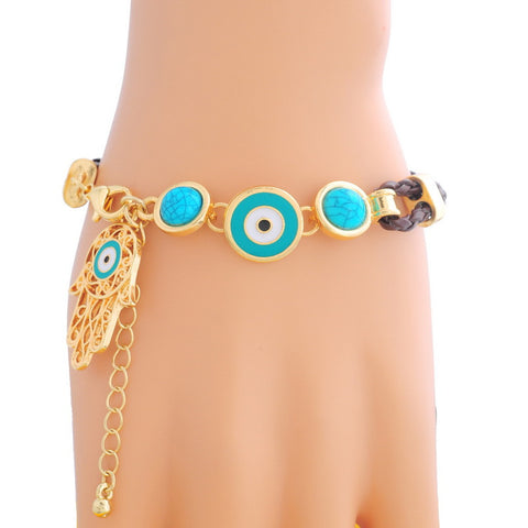 Leather Eye Amulet Charm Bracele