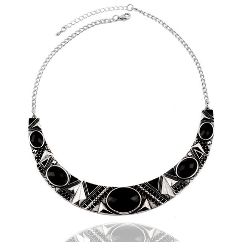 Vintage Style Silver Color Alloy Black Resin Bead Choker Necklace
