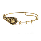 New plume feather charm adjustable wire bracelets
