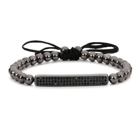 Micro Pave Bracelet Men & Women Plated Beads Braided Macrame Bracelet