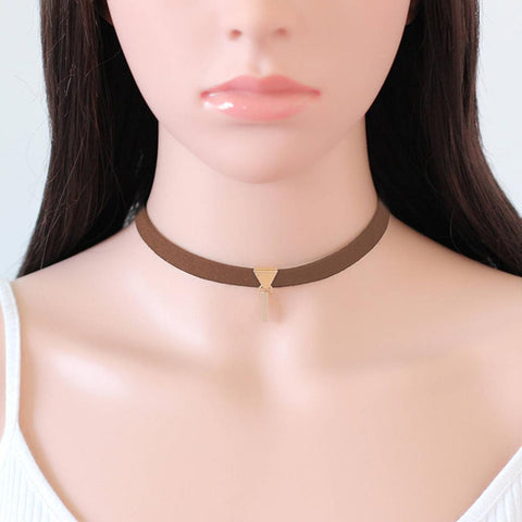 Velvet Suede Choker with Gold Plated Coffee Rectangle Pendant
