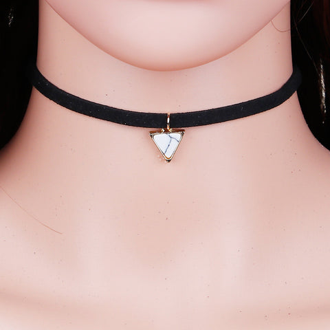 Velvet Imitation Turquoise Choker with Gold Plated Color Black Triangle