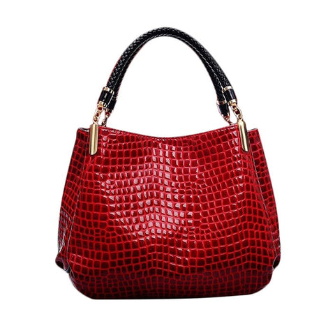 Luxury Leather Feminine Designer Crocodile Pattern Shoulder Handbag