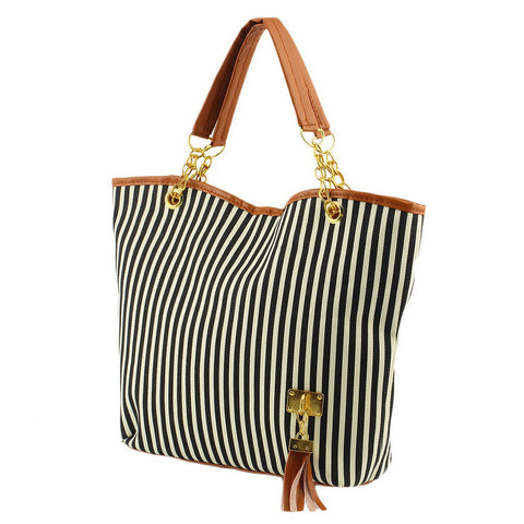 Hot  women shoulder  stripe canvas bag