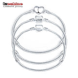 LZESHINE 2016 Hot Silver Love Snake Chain Fit Pan Charm Bracelets & Bangles Jewelry Gift For Men Women 17-21cm br1