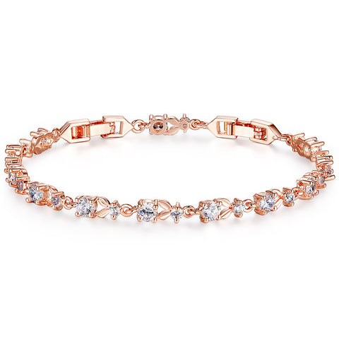 Luxury Rose Gold Plated Chain Bracelet for Women