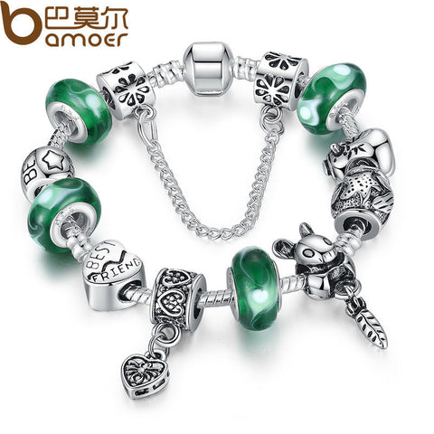 BAMOER Silver Green Bead Animal Best Friend Charm Bracelet with  Safety Chain for Women Original Jewelry PA1433
