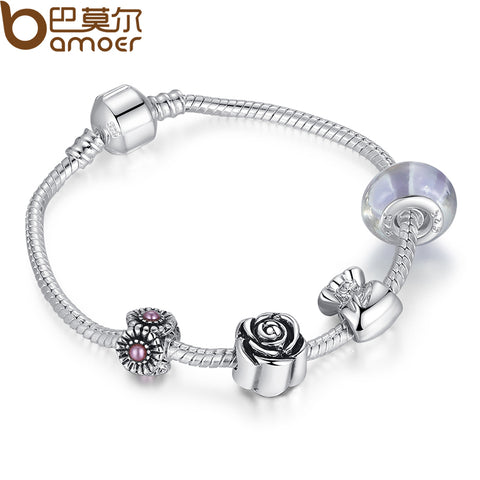 BAMOER Silver Color Charm Bracelet Pulseira with Murano Glass Beads Snake Chain Bracelet for Women Jewelry PA1439