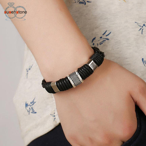 SUSENSTONE High Quality Genuine Leather Bracelet Men Anchor Bracelets