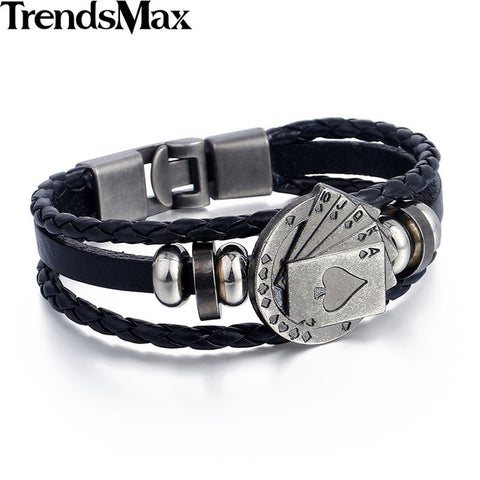 Trendsmax Mens Bracelet Leather Womens Strands Rope Friendship Lucky Spade Straight Flush Poker Handmade Charm Surfer LBM108