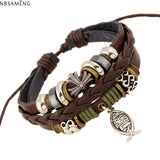 New Leather Cute Charm Wrap Bracelet For Women Men with Jesus Cross and Fish Pattern