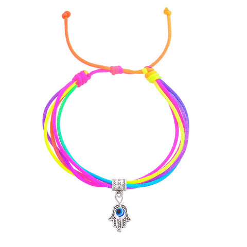 Multicolor Goodluck Eye Pendant Charm Bracelet