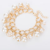 Simple Style Handmade Pearl Bead Gold Chain Bracelet
