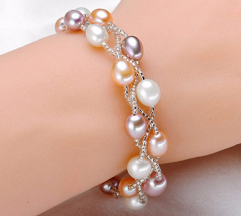 High quality 5-6mm color pearl bracelet purely handmade