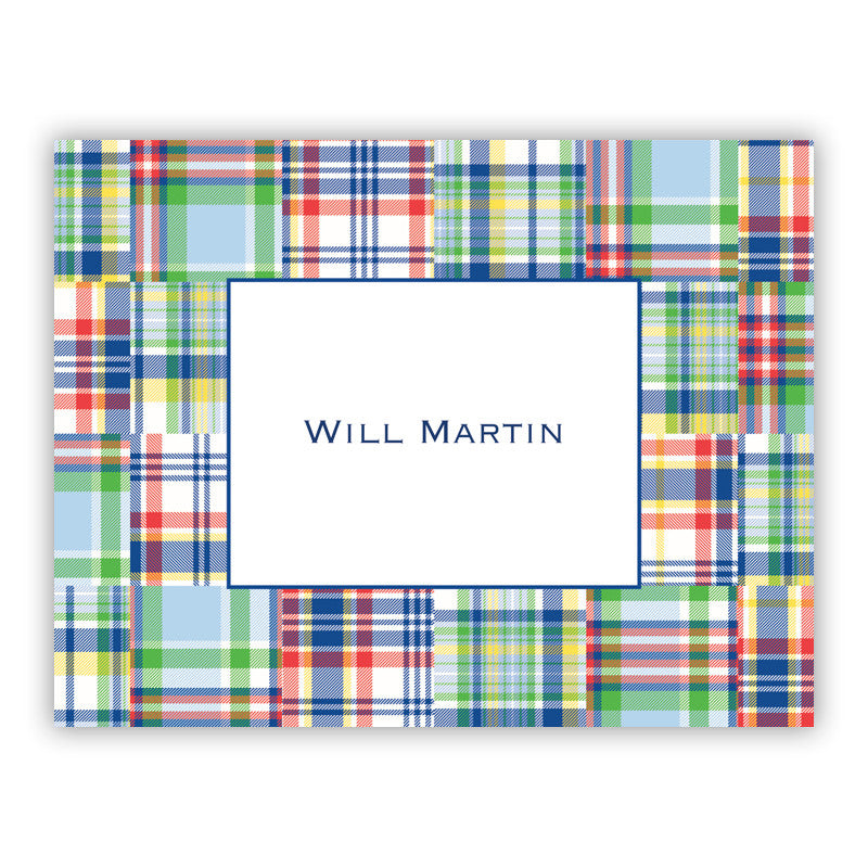Madras Patch Blue Folded Notes