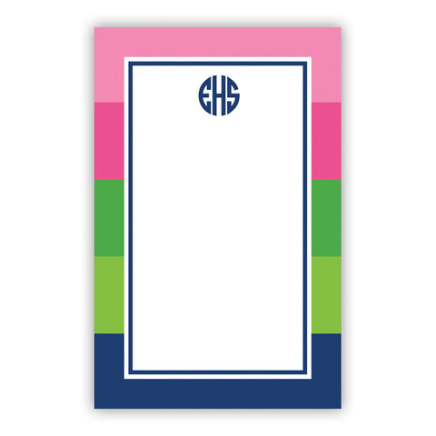 Bold Stripe Pink, Green & Navy Notepad