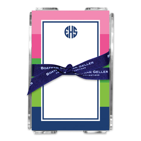 Bold Stripe Pink, Green & Navy Note Sheets