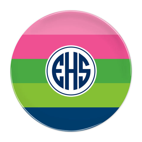 Bold Stripe Pink, Green & Navy Plate