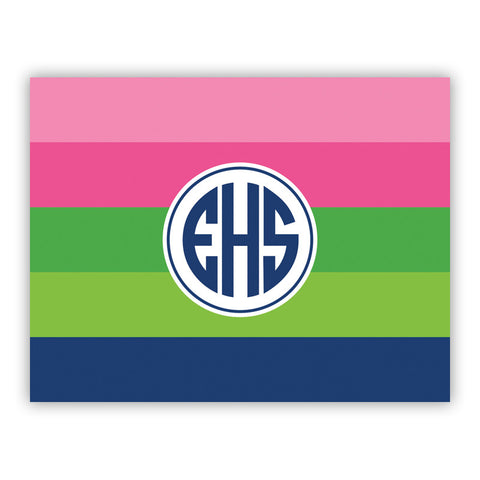 Bold Stripe Pink, Green & Navy Folded Notes