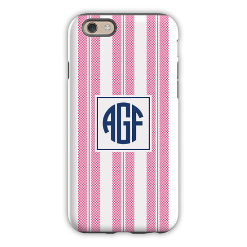 Vineyard Stripe Raspberry iPhone Case