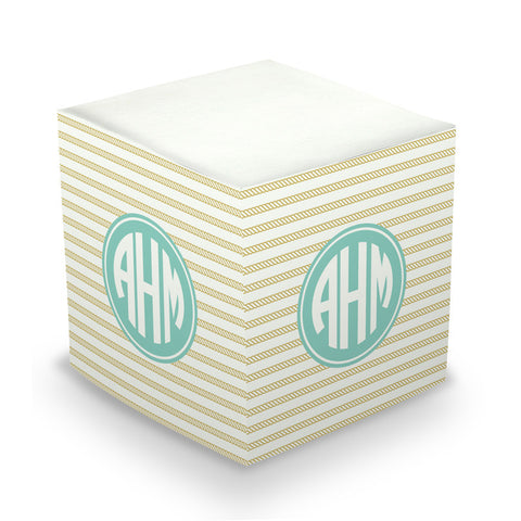 Rope Stripe Gold Sticky Memo Cube