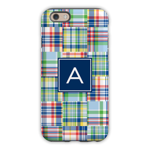 Madras Patch Blue iPhone Case