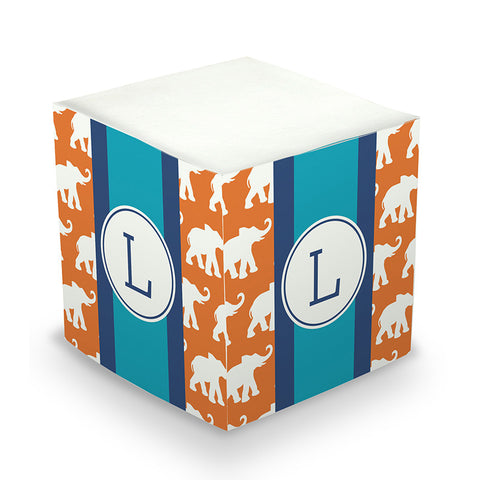 Elephants Ribbon in Orange Sticky Memo Cube