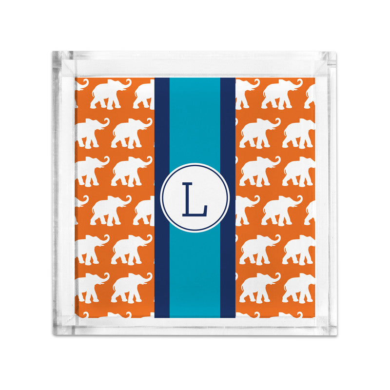 Elephants Ribbon in Orange Petite Lucite Tray