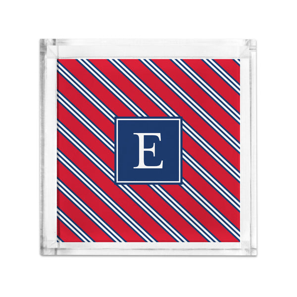 Repp Tie Red & Navy Petite Lucite Tray