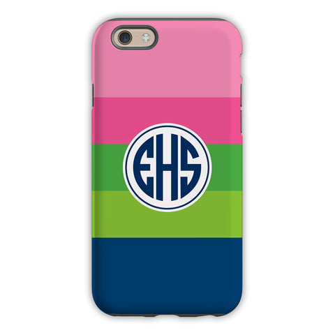Bold Stripe Pink, Green & Navy iPhone Case