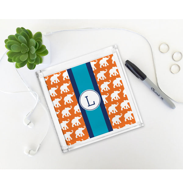 Elephants Ribbon in OrangePetite Lucite Tray