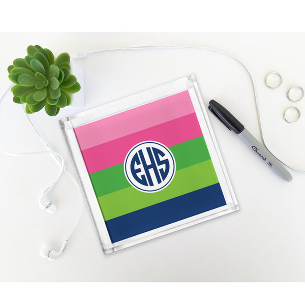 Bold Stripe Pink, Green & Navy Petite Lucite Tray