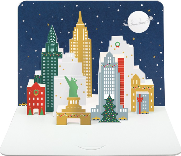 3D Pop Up Christmas New York Skyline by The Art File