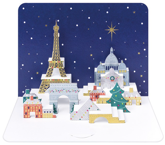 3D Pop Up Christmas Paris Skyline by The Art File