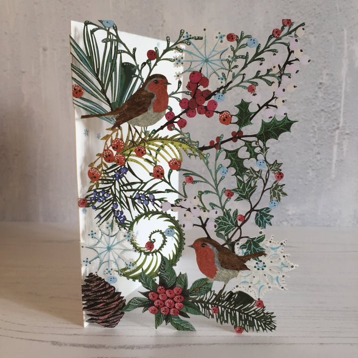 Wild Fern and  Robin Laser Cut Christmas card designed by Jane Ray