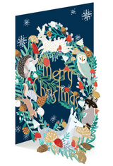 Frosty Forest Animals Laser Cut Christmas Card GCX951