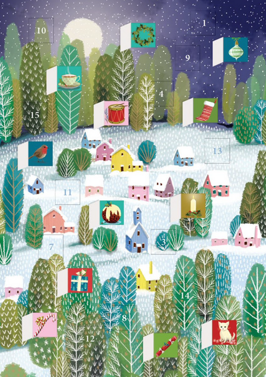 Little Houses Mini Advent Calendar Card