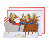 Santa and Reindeer Christmas Concertina Card